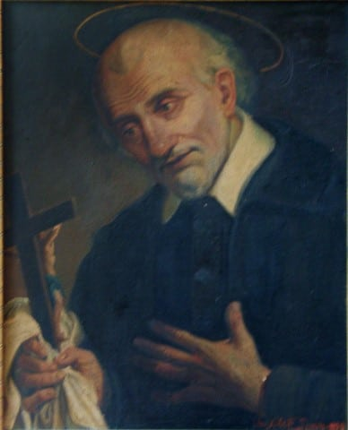 SVP Italy, Turin, Vincent de Paul weeps with crucifix, detail_JPG