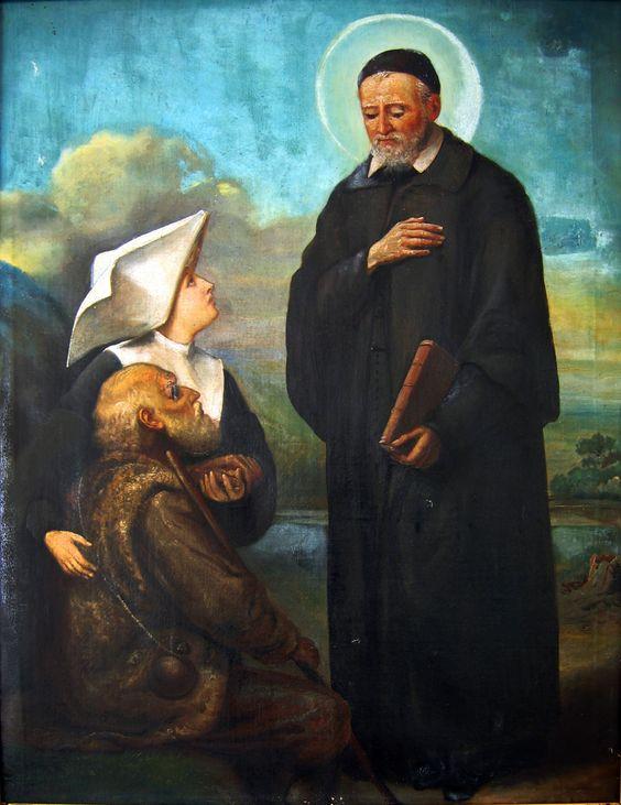 Sister presents poor man to Vincent de Paul